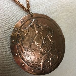 Vintage Jewelry - Vintage Western Cowboy Copper Necklace